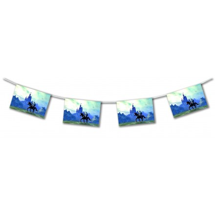 Medieval knight flame-retardant paper flag bunting