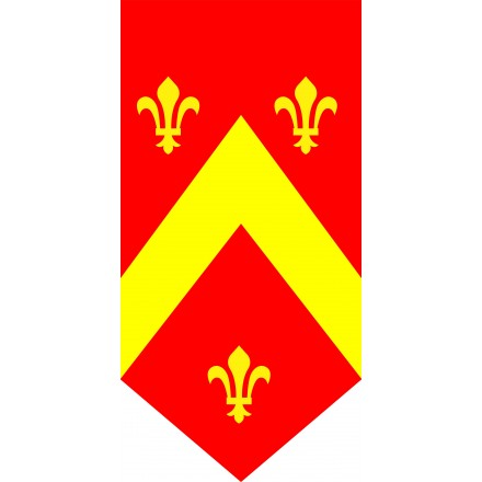 Red medieval banner yellow lys