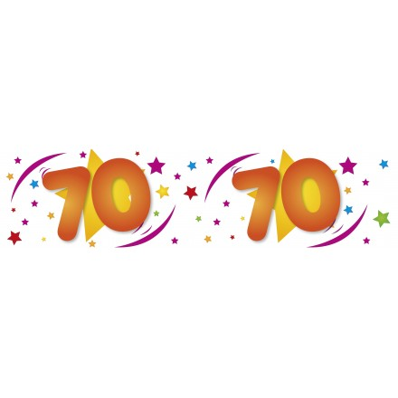 70th birthday white banner