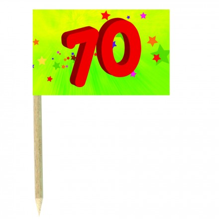 70th birthday green cocktail flag picks - pack of 10 food wood sticks party decoration