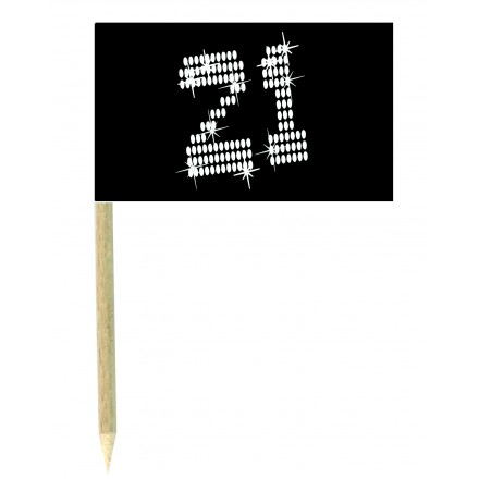 21st birthday cocktail flag picks pack of 10 food wood sticks party decoration