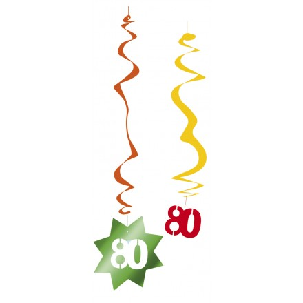80th birthday hanging swirl decorations pack of 6