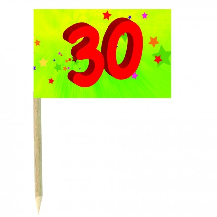 30th birthday green cocktail flag picks pack of 10 food wood sticks  party decoration