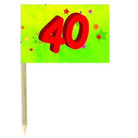40th birthday green cocktail flag picks pack of 10