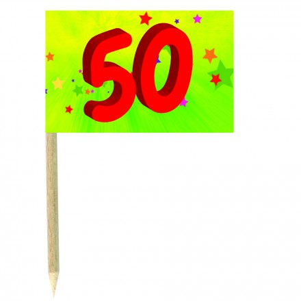 50th birthday green cocktail flag picks pack of 10