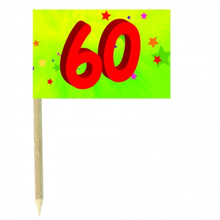 60th birthday green cocktail  flag picks pack of 10