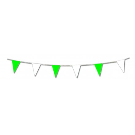 Green and white pennant plastic bunting