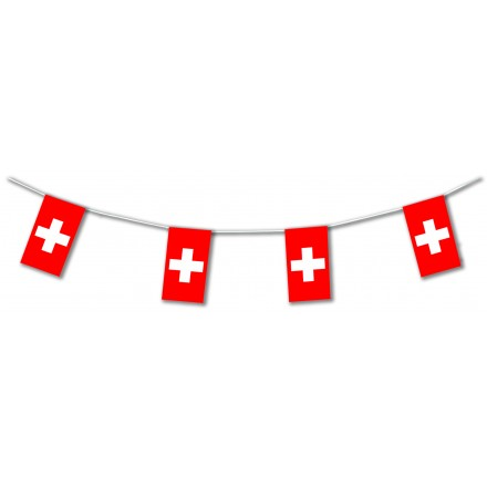 Switzerland plastic flag bunting 5m or 10m