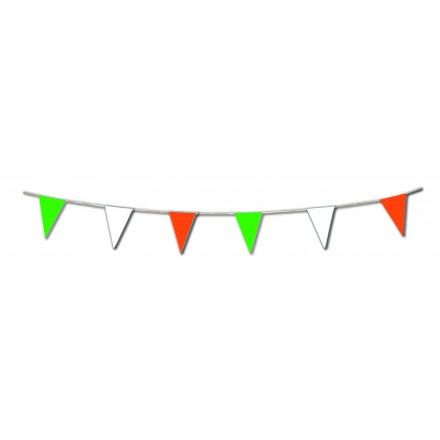 Green White Orange pennant bunting 10m