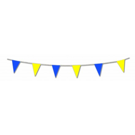Yellow and blue plastic pennant bunting