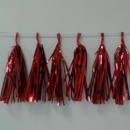 Red Foil Tassel Garland (12 tassels)