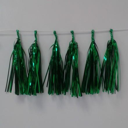 Green Foil Tassel Garland (12 tassels)