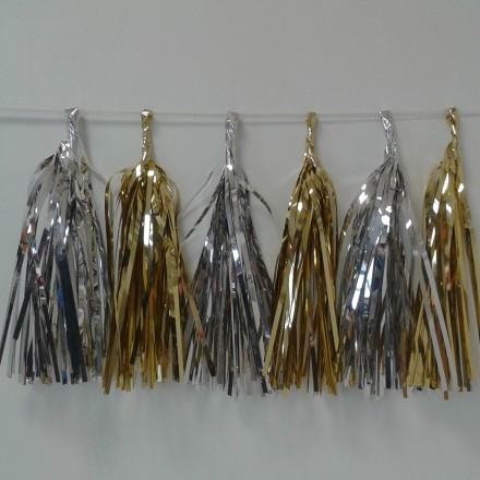 Gold and Silver Foil Tassel Garland (12 tassels)