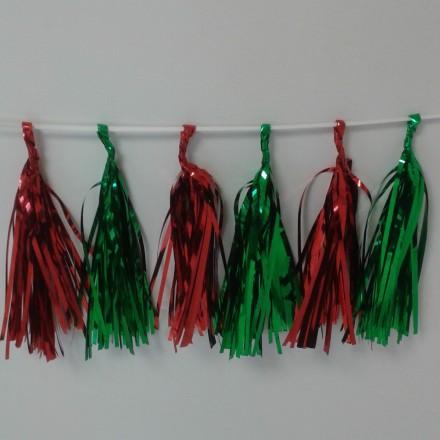 Red and Green Foil Tassel Garland (12 tassels)