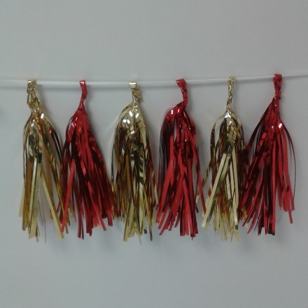 Gold and Red Foil Tassel Garland (12 tassels) wedding and Christmas decoration