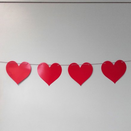 Red Heart Paper Card Garland 5m 22 Hearts wedding, St Valentine's Day party decoration
