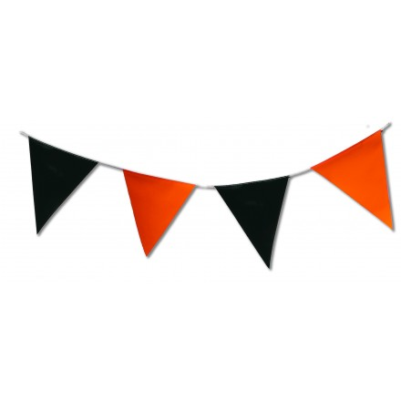 Orange and Black triangular plastic bunting 5m Halloween pennant banner