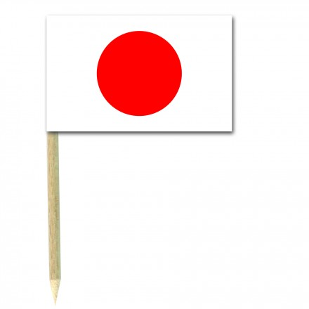 Japan Cocktail Flag Picks - Pack of 50 Japanese Food Wood Sticks