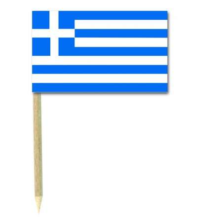 Greek Cocktail Flag Picks - Pack of 50 Greece Food Wood Sticks