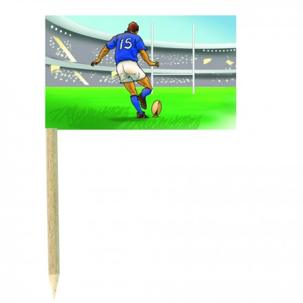 Rugby Cocktail Flag Picks - Pack of 10 food wod sticks rugby party supplies