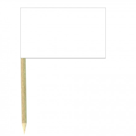 White Paper Cocktail Flag Sticks - Pack of 50 Food Wood Picks