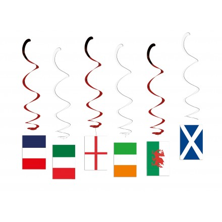 Six Nations Rugby Hanging Swirl Decorations pack of 6