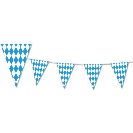 Oktoberfest Bavarian Checkered blue and white pennant bunting triangular flags 4.50m