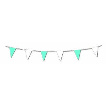Blue and White Plastic Pennant bunting 20 triangles 20x30cm 10m long