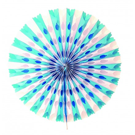 White and Blue Honeycomb fan 50cm flame retardant tissue paper Oktoberfest