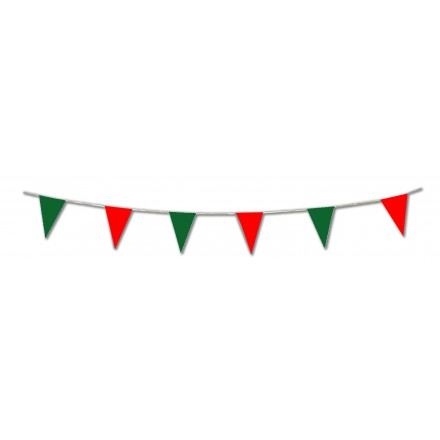 Red & Green Plastic Pennant Bunting Flags Christmas Party Supplies