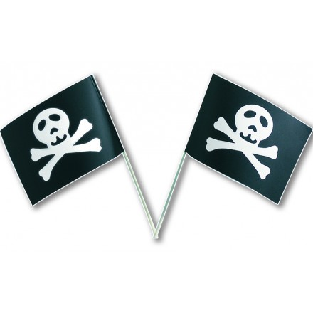 pirate hand-waving flag 14x21cm pack of 100 party decoration